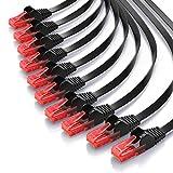 CSL – 10 x 0,25m - Cat 6 Netzwerkkabel Flach | Gigabit Ethernet LAN | RJ45 Kabel / Flachbandkabel / Verlegekabel | 10/100/1000 Mbit/s | Patchkabel / Flachkabel | Kompatibel zu Cat.5 / Cat.5e / Cat.6 | schwarz
