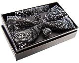 Retreez Herren Gewebte vorgebundene Fliege Elegante Paisley Kunst Muster 13 cm und Einstecktuch und Manschettenknöpfe im Set, Geschenkset, Weihnachtsgeschenke - schwarz