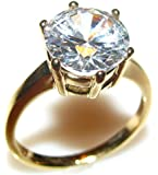 Ah! Jewellery 6.4ct Gold Filled Solitaire Setting Lab Created Diamond Ring. 10mm Centre Stone. 4.4gr Total Weight. 4mm Total Width. Excellent Quality.