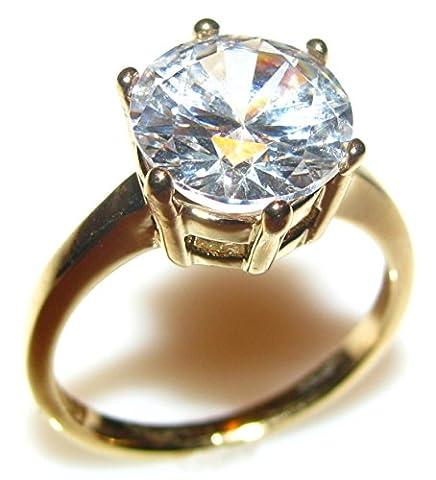 ah. Jewellery 6,4carats or avec diamant solitaire réglage Lab créé. Pierre Centrale 10mm. Poids total 4.4Gr. 4mm Largeur totale. Excellente Qualité.