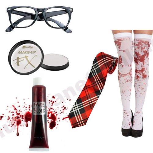 Blue Planet Online Zombie Schulmädchen Gläser, Krawatte, Schminke, Fake Blood & Bloody Strümpfe