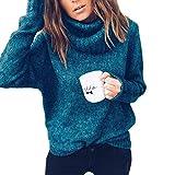 TianBin Donna Maglione Collo Alto Casual Manica Lunga Dolcevita Maglieria  Invernali Sweater Jumper Top (Verde 09dd4ad25a6