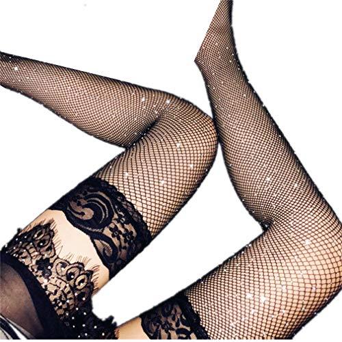 ZHER-LU Damen Sexy Spitze, Strass, Netz, Netzstrümpfe, Strumpfhose, Modell 3