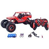 HUKOER RC Coche Teledirigido 2.4G 4CH 4WD Rastreadores de roca 4x4 Conduciendo un auto 1:18 Motores dobles Pie Grande Control remoto Modelo de auto Vehículo todoterreno Juguete (Rojo)