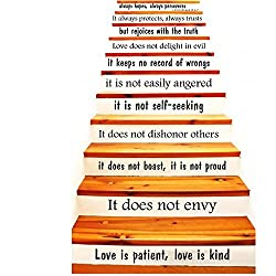 Wall Decals Quotes Love is Patient, Love is Kind - 1 Corinthians 13 Stairway Staircase Stair Case Vinyl Sticker Wall Decor Murals Home Family Decor