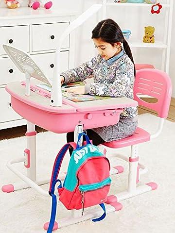 Leomark Ergonomisch Kinderschreibtisch SMART schreibtisch und Stuhl höhenverstellbar Farbe Pink