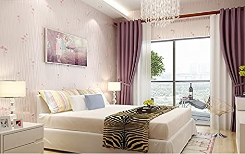 HY-Idyllic small floral wallpaper non-woven wallpaper children's room bedroom living room TV background wallpaper 3d simple stripes, light pink