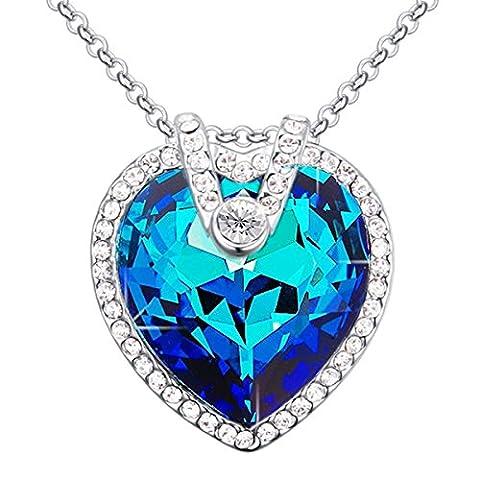 FANSING Schmuck Luxus Österreichischer Herz Kristall Halskette Anhänger für Damen Mädchen Blau (Österreichischen Kostüm Puppen)