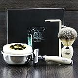 Premium Rasage Kit Cadeau Pour Hommes(rasoir de sécurité,Brosse,Bol,pied)coffret labellisé