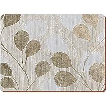 Creative Tops Everyday Home Platzsets mit neutralem Blättermotiv, Holz, Unterseite aus Kork, Braun, 4 Stück