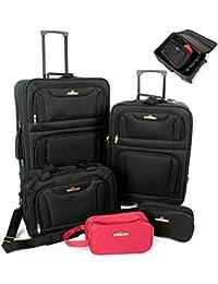 5 tlg. Kofferset Trolley Reisekoffer Koffer ink. Kulturbeutel ineinander Stapelbar
