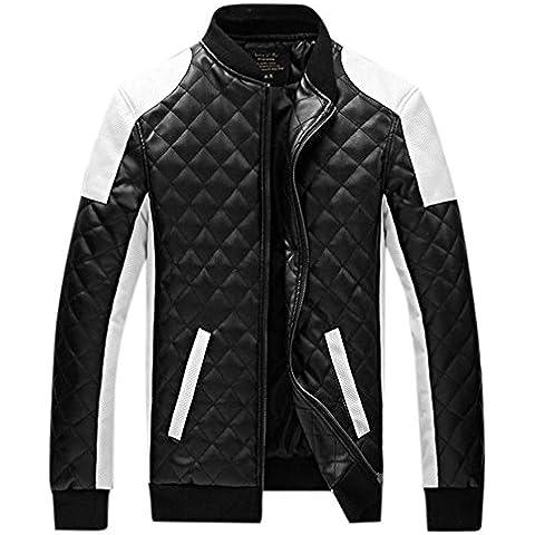 Highdas Uomo Nuovo casuale di cuoio Giacca Cotone Gi¨´ PU esterna Giacche cappotto