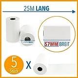 5 x EC Cash Thermorollen | Breite: 57 mm – Durchmesser: 35 mm - Hülsendurchmesser: 12 mm – Länge: 25 m | für Bondrucker, EC-Terminals, etc.