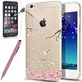 iPhone 6S Hülle,iPhone 6 Hülle,ikasus [Hartglas Schutzfolie Stylus] Cherry Blossom Muster Crystal Clear Transparent TPU Silikon Handyhülle Durchsichtig Schutzhülle für iPhone 6/6S Hülle,Kirschblüte #3