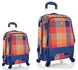 Kofferset, Gepäckset, Reisegepäck by Heys - Premium Designer Hybrid Kofferset 2 TLG. - Hybrid Spinner Chroma Orange-Blau Handgepäck + Koffer mit 4 Rollen Medium