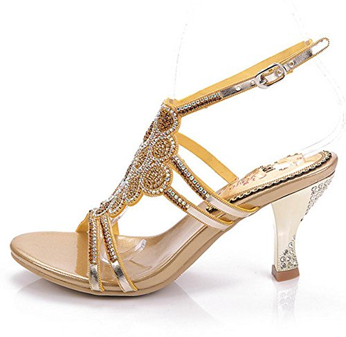 YMXJB Sandales mode européen talon haut incrusté de cristal gold (fine)