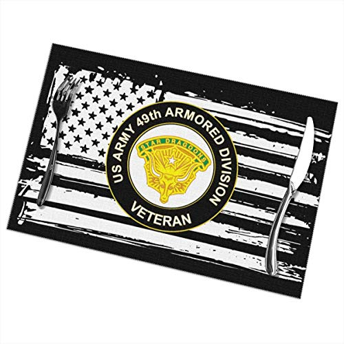 US Army 49th Armored Division Unit Crest Veteran Placemats Funny Table Mats Heat-Resistant Non-Slip Set of 6 -