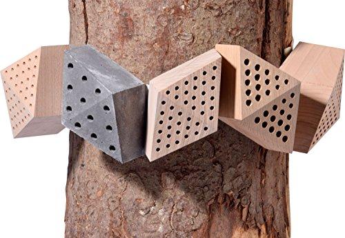 """Luxus-Insektenhotels 22660e Design-Insektenhotel """"Quartier"""" 5 Module: Beton, Eiche, Esche, 2x Buche, Insektenhaus für Wildbienen, Maße je Block, circa 15.5 x 8.5 x 7.5 cm, braun und grau - 4"""