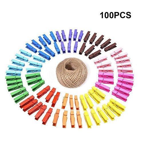 G2PLUS 100 STK Holzwäscheklammer Farbig Wäscheklammer Klammern für Fotopapier Kleiderroller mit 30 M Jute Twine (Farbig)