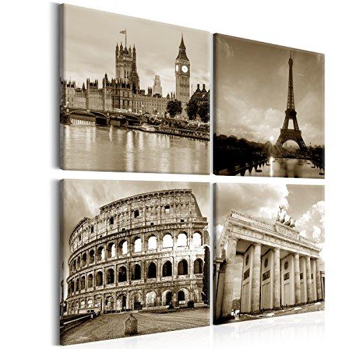 murando Bilder Stadt 80x80 cm - XXL Format LEINWAND AUFGESPANNT AUF SPANNRAHMEN - VLIES LEINWAND - 4-teilig - Wandbild - Bild - Kunstdruck - Canvas – City Paris Eiffelturm London Berlin sepia d-B-0174-b-i