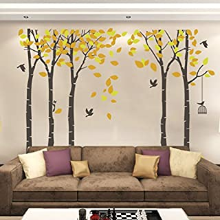 Huge Family Tree Wall Decal Removable Large Tree Wall Decor Decorative Painting Supplies & Wall Treatments Stickers for Living Room Bedroom (Yellow)