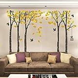 Kuke Wandtattoo Großen Baum mit Gelbe Blätter und Vogel Abnehmbare DIY Wand-Aufkleber Wandsticker für Wohnzimmer Sofa Hintergrund Schlafzimmer (264x180cm/103.9x70.9 inch,Gelb)