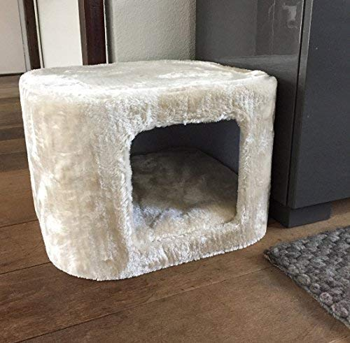 RHRQuality Kuschelhöhle große Katze Beige. Katzenhöhle 40x40x27cm mit extra Grosse Eingang 20x20cm und herausnehmbar Kissen. ca5 KG Sehr stark. Kratzbaum Ersatzteil