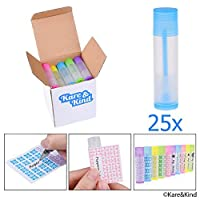 Lip Balm Container Tubes - 25-Pack (5x5 colors) - DIY - 3/16 Oz (5.5 ml) - Including 25 Writeable (5x5 colors) & 25 Printed Stickers - Twist Mechanism and Cap - Empty - Make Lip Balm Chapsticks