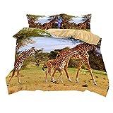 Stillshine Bettwäsche Set Giraffe Bettbezug und Kissenbezug 100% Polyesterfaser Bettwäsche mit Verdecktem Reißverschluss (Grasland Giraffe, 220x260cm)