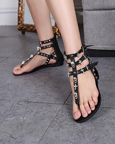 Damen Römische Schädel Verzierung Y-Strap Thong Flach Zurück Zipper Sandalen Schwarz