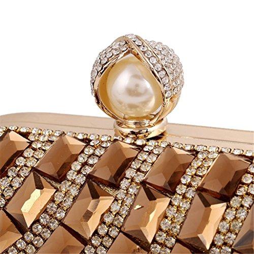 ERGEOB® Damen Luxus Diamant Clutch Glas Kristall Abendtasche Handgelenkstaschen für Event Hochzeit Theater alle Partys Blau Silber
