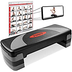 POWRX Step fitness/aeróbic escalón XL (80 x 30 cm) - Stepper ideal para ejercicios en casa y gimnasio - Altura regulable y superficie antideslizante + PDF workout (Negro/Gris)