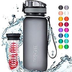 """720°DGREE Trinkflasche """"uberBottle"""" - 650 ml, 0,65 l, Grau - Neuartige Tritan Wasser-Flasche - Water Bottle BPA Frei - Ideale Sportflasche für Kinder, Fitness, Fahrrad, Sport, Fussball"""