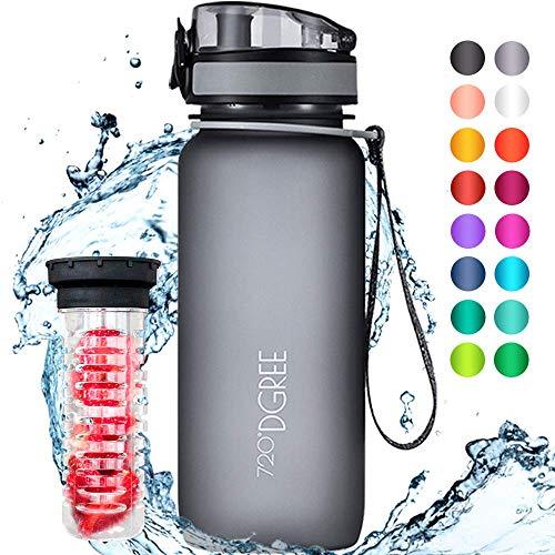 """720°DGREE Trinkflasche \""""uberBottle\"""" - 650 ml, 0,65 l, Grau - Neuartige Tritan Wasser-Flasche - Water Bottle BPA Frei - Ideale Sportflasche für Kinder, Fitness, Fahrrad, Sport, Fussball"""