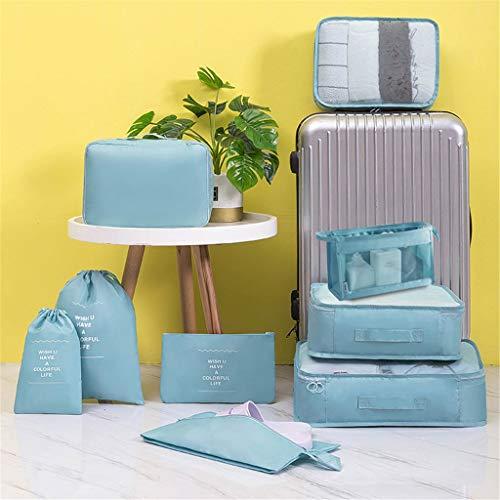 Lukame 9 Stück Reise Kleidertaschen Set,Urlaub Cubic Packing Koffer Aufbewahrung Taschen Organiser für Trockene,Kleidung,Schuhe -