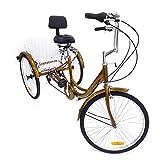 """OUBAYLEW 24"""" Triciclo per Adulti a 3 Ruote per Bicicletta Triciclo per Adulti a 6 velocità Crociera + Cestello"""