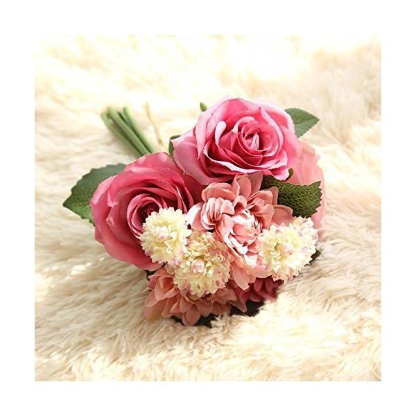 Niya Soft Ramo de Flores Artificiales 10 Cabeza Rosa Dalia caída vívida Flor Falsa para la Boda Fiesta en casa…