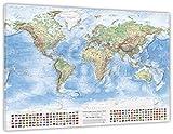 J.Bauer Karten Mappa fisica del mondo, 120x80 cm, su tela, in inglese, edizione 2017