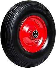 Pannensicheres Schubkarrenrad, Vollgummi-Reifen: 400 mm Ø - 88 mm Breite/Nabenlänge - 20 mm Achse mit Präzisions-Kugellager, Schubkarren-Reifen PU auf Stahlfelge mit 150 kg Traglast