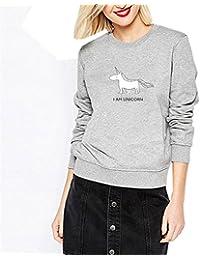 COCO clothing Sudaderas de Mujer Cuello Redondo Unicornio Estampado Blusa de Manga Larga Camisetas Casual College
