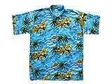 Ontop-Fashion Hawaiihemd Hawai Freizeit Hemd Shirt Viskose Blaue Meerwellen Hibiskus Palmen, Größe:L