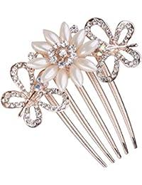 Clip Peineta Peine de Cabello Pelo 5-pin Flor Diamantes de Imitación Perlas Artificial # 4