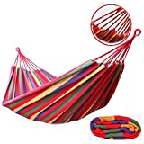 #9: Ramkuwar Portable Outdoor Hammock Hang Bed Travel Camping Swing Canvas with Backpack (RED 280 * 100 cm (2 Person) 150 kg)