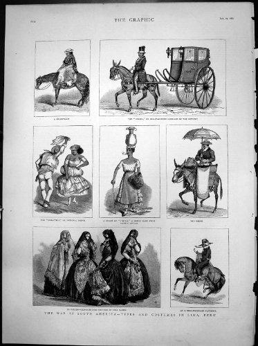 Antiker Druck Kriegs-Südamerika-Kostüm-Peru-La Tapada-Tanzes aus Lima (Peru Kostüm Von)