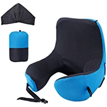 LANGRIA Travel Pillow 6-in-1 Long Haul Astronaut Memory Foam Neck Pillow with Detachable Hood Adjustable Size for All Ages Side Elastic Pocket Travel Cushion for Plane Train Car Bus Office (Blue)