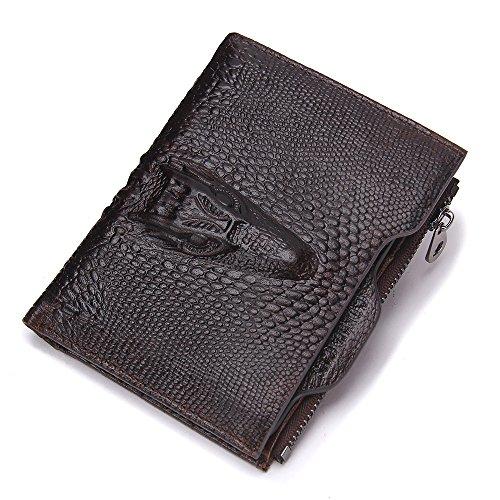 Contacts Echtes Leder Alligator-Geld-Münzen-Geldbeutel -Mann-Mappe mit ID-Kartenhalter Dunkelbraun (Wallet Alligator-bi-fold)