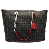 BORSA DONNA POLLINI SHOPPING BAG TAPIRO NERO/ROSSO TE8410 216