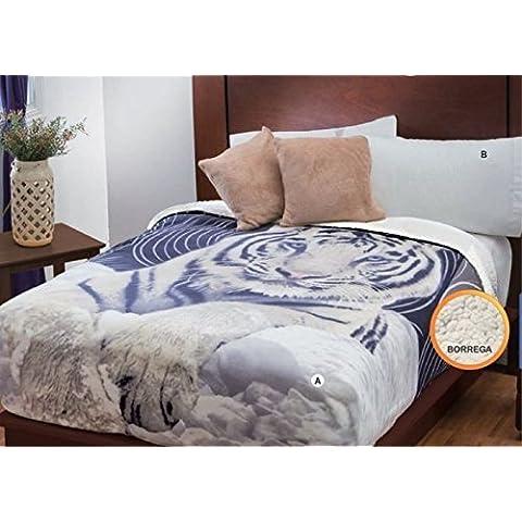 Tigre Fuzzy manta de forro polar y juego de sábanas, 100% poliéster/forro polar/poliéster, cama