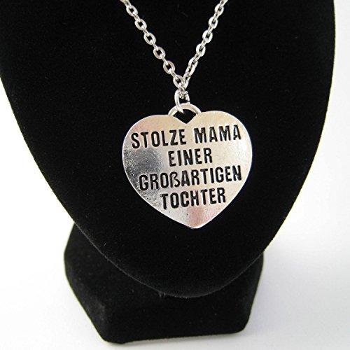 """'Collana scritta Stolze Mama di una grande figlia """", base metal, colore: argento, cod. kettetochter"""