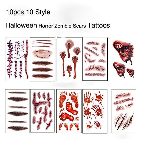 Halloween Temporäre Tattoos Zombie Scars Tattoos 10 Blatt Aufkleber mit Gefälschten Scab Blut Spezial Kostüm Makeup ()